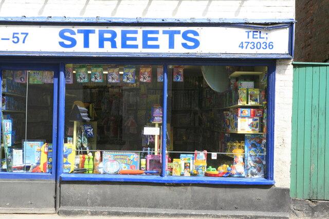 Closeup of Streets toyshop window