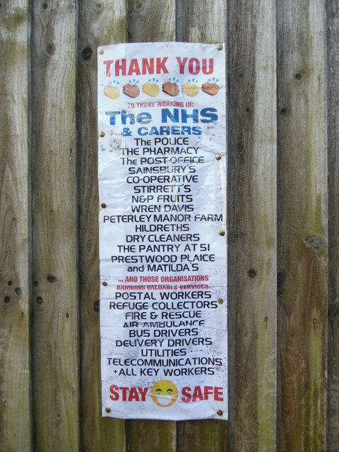 Thank You Notice on a fence in Prestwood