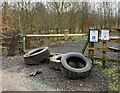 SJ7948 : Tyres flytipped at Bateswood CP by Jonathan Hutchins