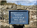 NU1341 : Sign on wall of Gertrude Jekyll garden, Lindisfarne by Jonathan Hutchins