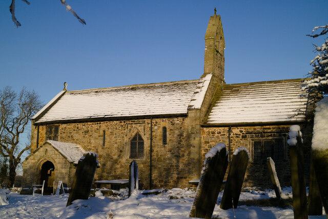 St Mary's Church, Stainburn on a snowy day