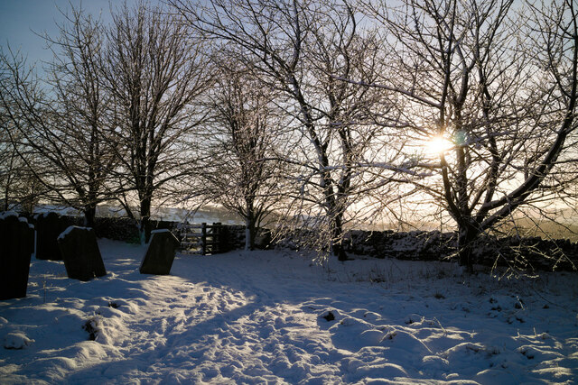 Snowy footpath in St Mary's Churchyard