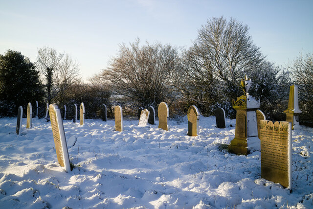 Snow covered headstones in St Mary's Churchyard
