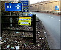 ST3089 : Outdated notice alongside a motorway slip road, Newport by Jaggery