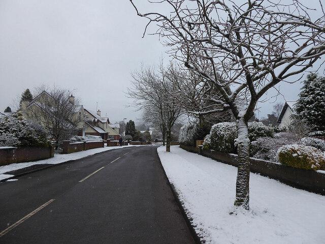 Snow along footpaths,  Knockgreenan Drive, Omagh