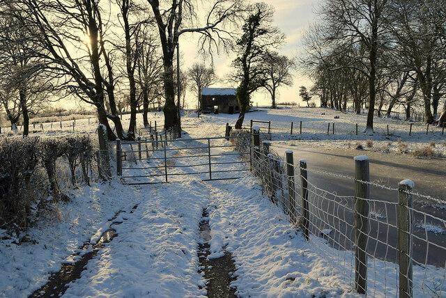 Snowfall along a lane, Creevangar
