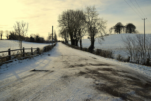 Snow along Loughmuck Road at  Mullaghmore
