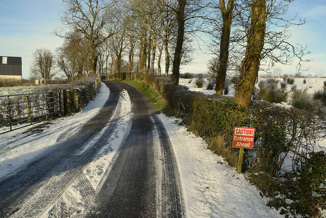 Snow and ice along Whitehill Road
