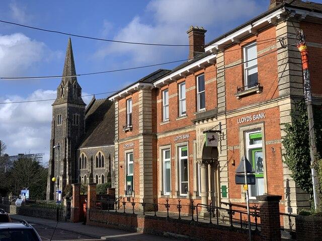 Lloyds Bank and Methodist church, Gillingham