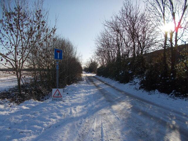 Foxcovert Road, Peakirk, in the snow