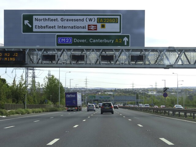 The A2 heading east past Gravesend
