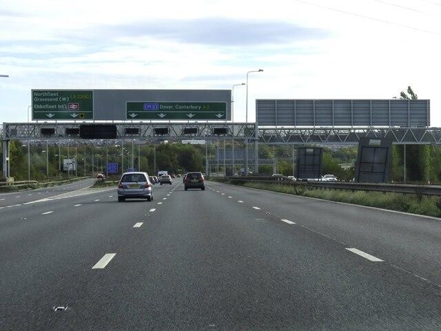 The A2 heading east near Gravesend