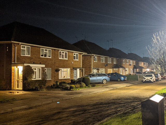 Houses on Burns Road, Pound Hill, Crawley by Robin Webster
