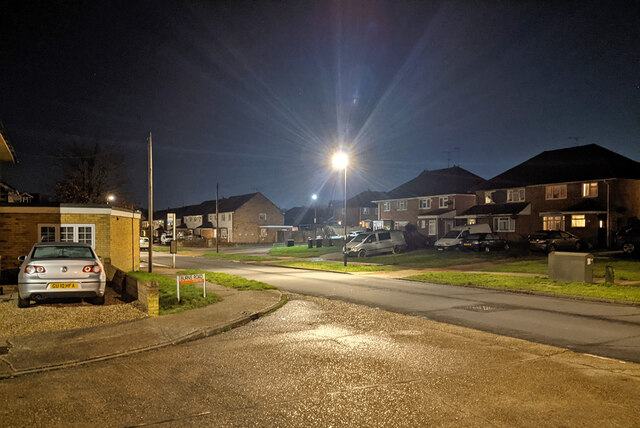 Burns Road joins Chaucer Road, Pound Hill, Crawley by Robin Webster