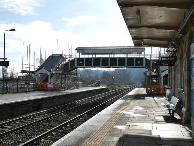 Chepstow railway station footbridge under scaffolding