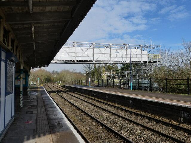 Temporary railway footbridge at Chepstow Station