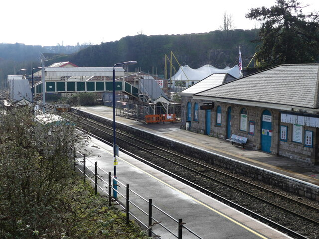 Chepstow railway station seen from temporary footbridge