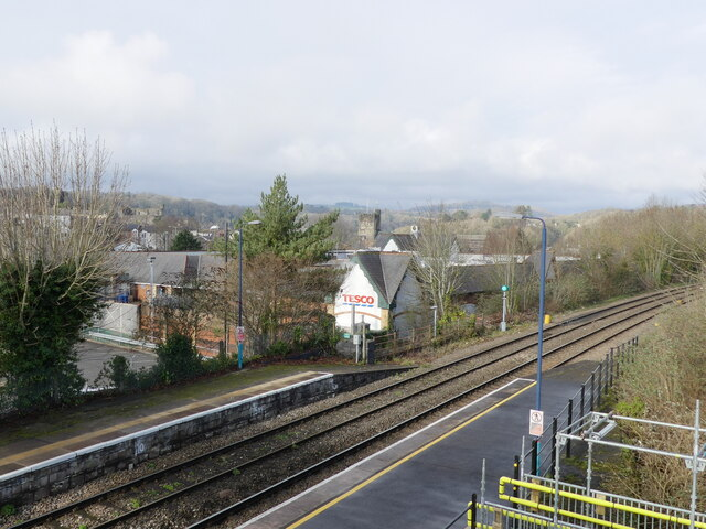 View towards Tesco's from temporary footbridge, Chepstow railway station