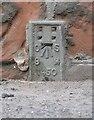 NY3768 : Flush bracket benchmark, Longtown Bridge by Adrian Taylor