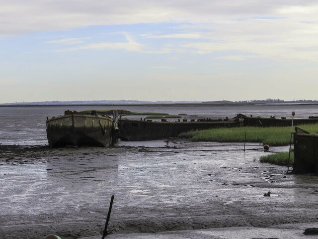 Old barges on the mudflats