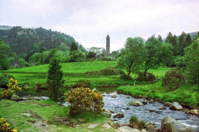 View across the Glendasan River towards Glendalough