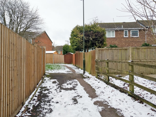 Path from Balcombe Road to residential roads, Pound Hill, Crawley by Robin Webster