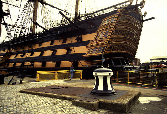 Portsmouth Historic Dockyard - HMS Victory and a capstan