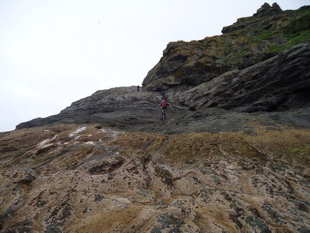 The initial climb on Boreray
