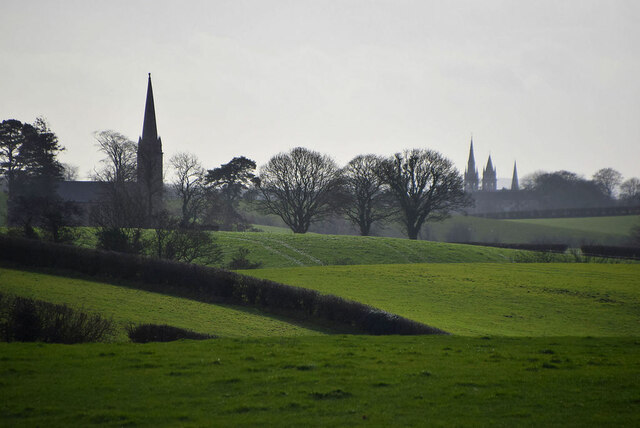 Distant churches at Cappagh and Omagh