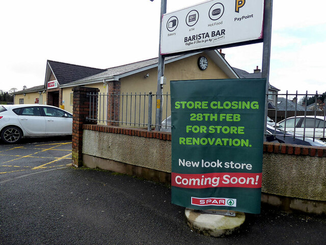 Store closing for renovations notice, Omagh