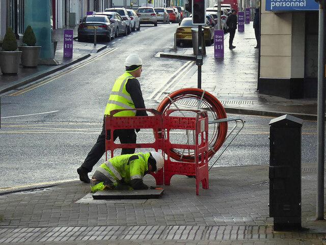 Broadband engineers at work, Omagh