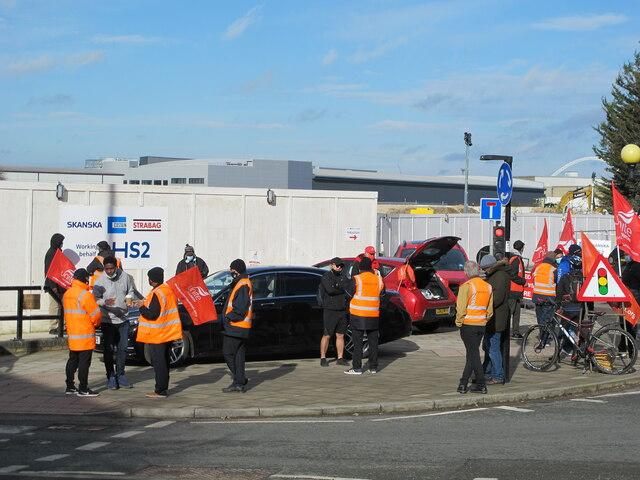 Industrial action by Unite union, HS2 Atlas Road site