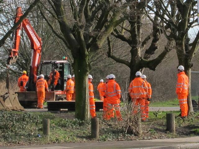 Digger and hi-viz workers, Old Oak Common