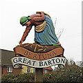 TL8967 : Great Barton village sign by Adrian S Pye