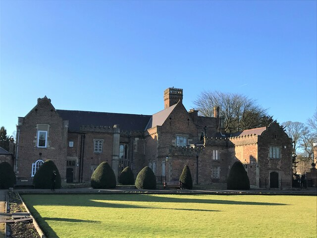 The east façade of Ayscoughfee Hall Museum in Spalding