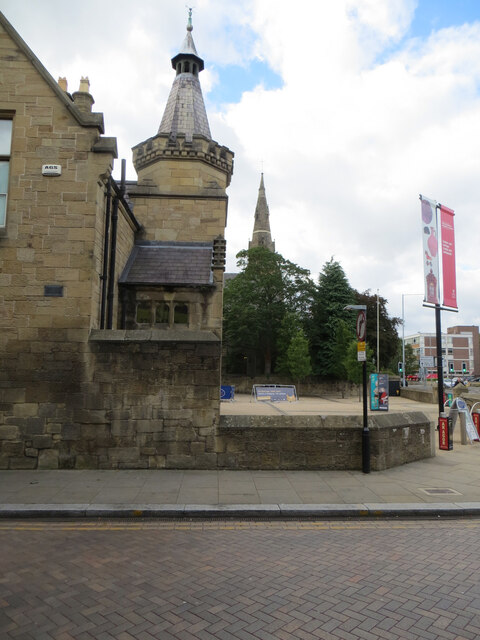 The side wall and front courtyard of Wrexham Museum