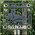TL7648 : Poslingford village sign (detail) by Adrian S Pye