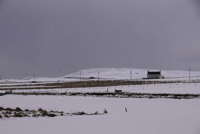 Frozen Easter Loch, Uyeasound, covered in snow