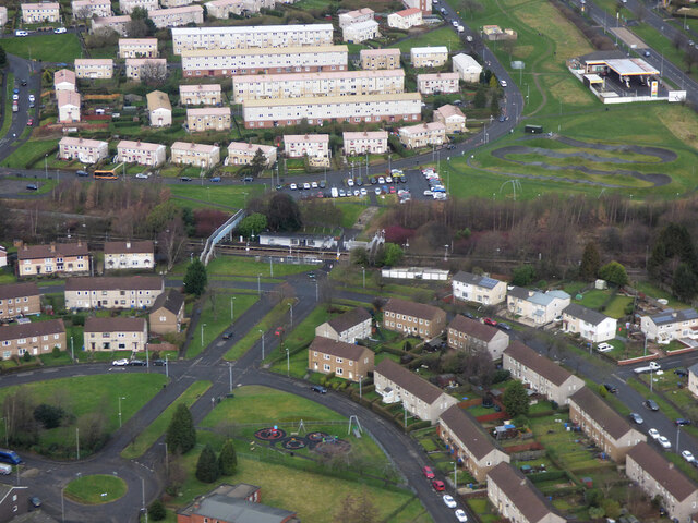 Drumry railway station from the air