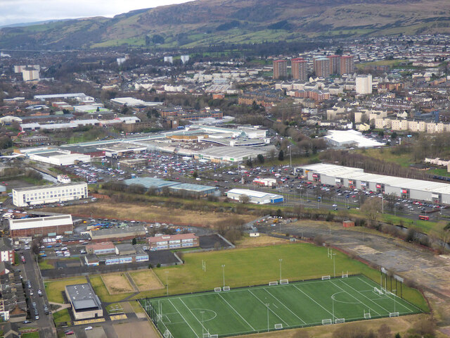 Clydebank Community Sport Hub from the air