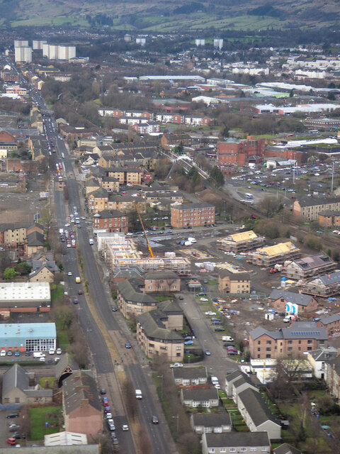 The A814 Dumbarton Road from the air