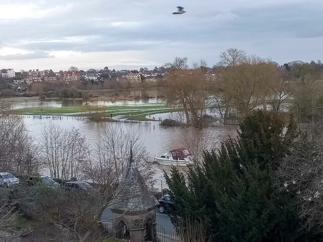 View towards the flooded meadows at Chester