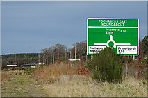 NJ3558 : Fochabers East Roundabout Sign by Anne Burgess