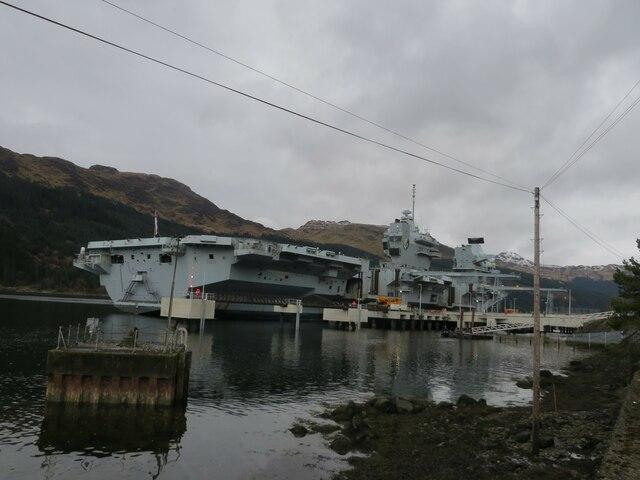 H.M.S. Queen Elizabeth berthed at Glenmallan depot, Loch Long