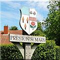 TL9450 : Preston St Mary village sign by Adrian S Pye
