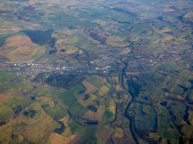 Galashiels and Tweedbank from the air