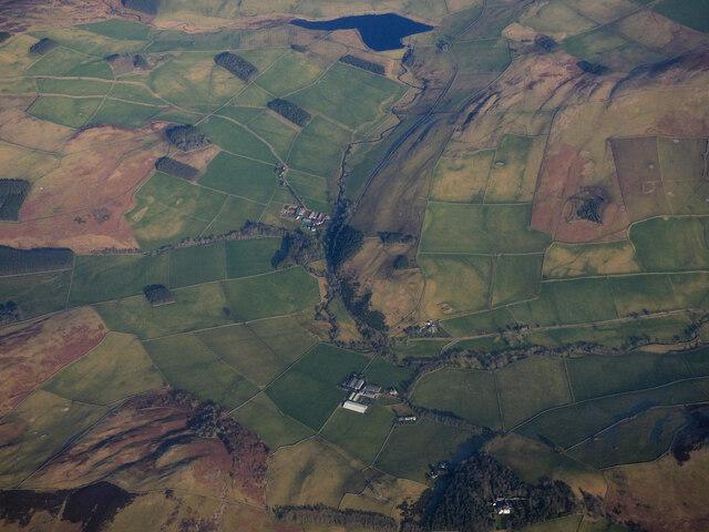 Laidlawstiel Farm an Blackhaugh Farm from the air