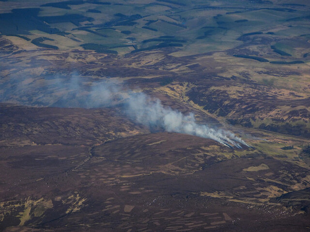 Moorland heather burning from the air