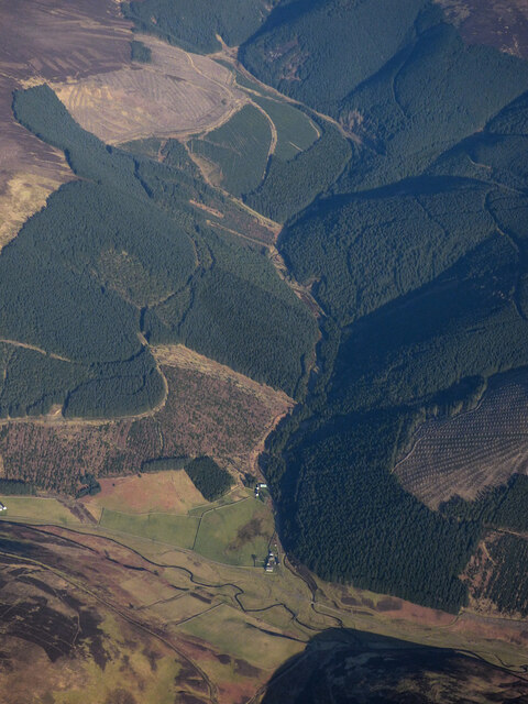Leithen Water and the Williamslee Burn from the air
