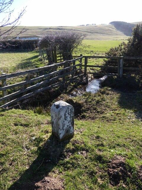 Boundary stone beside the Fawdon Burn